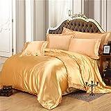 Juego de ropa de cama de seda de satén de lujo, funda de edredón y sábana bajera ajustable para cama individual, tamaño king, tamaño King 01, 6 unidades