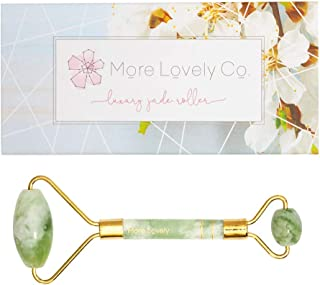 Jade Roller by More Lovely Co - with a complimentary Beauty Book - Personal spa treatment - Natural wrinkle reducing beauty product for your daily skincare routine - Antiaging facial massage tool