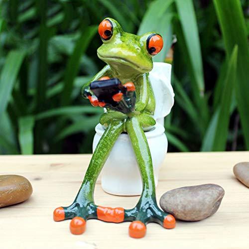 JIESD-Z Estatua de rana en 3D con texto en el inodoro, soporte para lápices de resina, diseño de animales y decoración divertida para el hogar, escritorio, baño