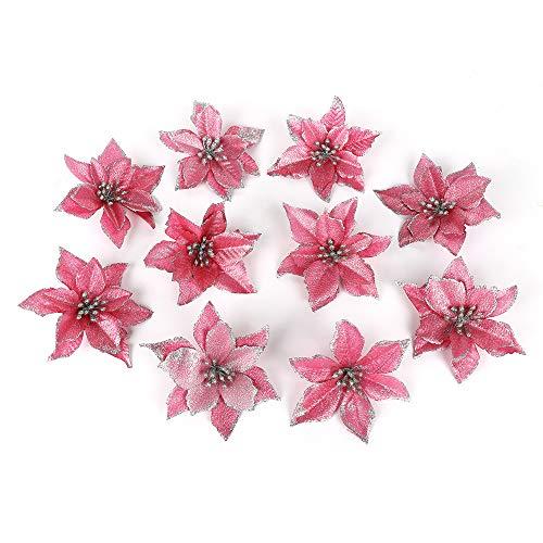 ADSRO 10Pcs Glitter Hollow Wedding Party Decor Christmas Artificial Fabric Simulation Flower Xmas Tree Decorations (Pink)