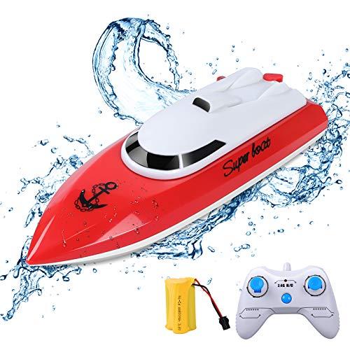 ERollDeep RC Boat, Barco de Control Remoto para Piscinas y Lagos 2.4GHz 10KM/H Radio de Alta Velocidad Barco de Carrera Eléctrico para Niños Niños Adultos Chicos Chicas