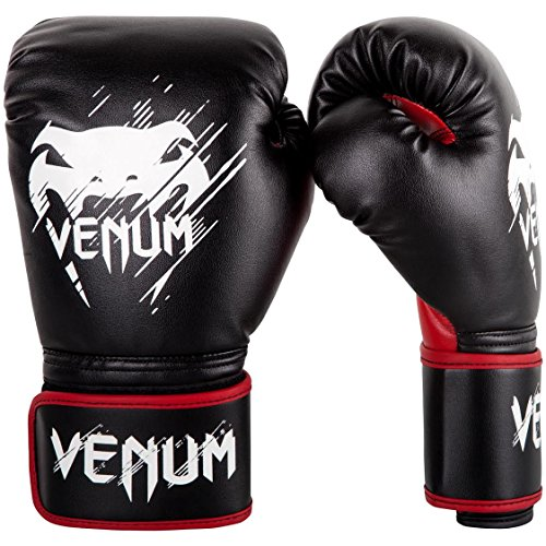 Venum Contender Gants de Boxe Mixte Enfant, Noir/Rouge, 6 oz