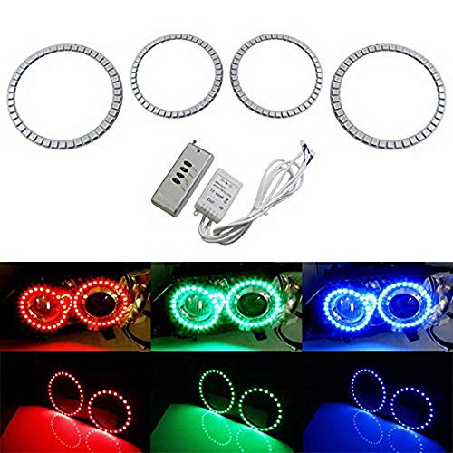 iJDMTOY Multi-Color 180-SMD RGB LED Angel Eyes Halo Ring Lighting Kit w/Remote Control Compatible With 2007-2011 BMW E92 E93 328i 335i M3 Coupe or Convertible