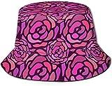 Unisex Textura, Color, patrón, impresión de Arte Sombrero de Cubo de Viaje Gorra de Pescador de Verano Sombrero para el Sol-Rosa sin Costuras