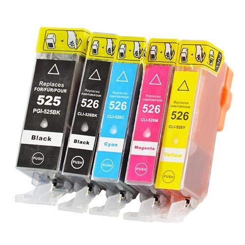 5 Bubprint Druckerpatronen kompatibel für Canon PGI-525 CLI-526 für IP4850 IP4950 IX6550 MG5150 MG5250 MG5300 MG5350 MG6150 MG6250 MG8150 MG8250 MX715 MX885 MX895 Multipack