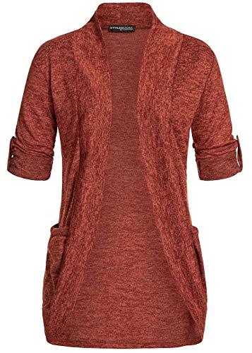 Styleboom Fashion® Damen Weste Turn-Up Cardigan Jacke offener Schnitt 2-Pockets Kupfer braun, Gr:M