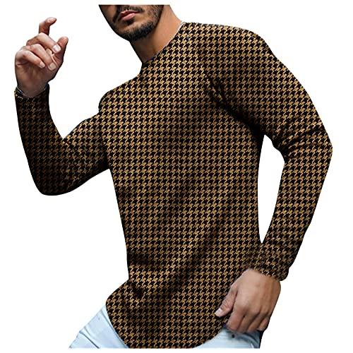 Luckycat Camiseta de Estampado de Pata de Gallo para Hombre, Camiseta Informal de Otoño Invierno de Manga Larga Raglán Sudadera con Cuello Redondo Camiseta Pull-Over