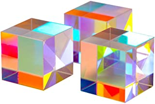 2cm Optical Glass X-Cube Prism RGB Dispersion Prism for Physics and Decoration Same Size 3pcs