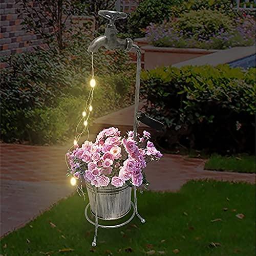 Metikkeer Luces LED solares de jardín con grifo, luces de hadas para jardín al aire libre, luces de jardín impermeables alimentadas con batería, luces LED para decoración de jardín
