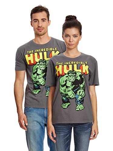 Logoshirt Marvel Comics - L'incredibile Hulk Maglietta 100% Cotone Organico (Produzione Biologica) - Grigio, Taglia M
