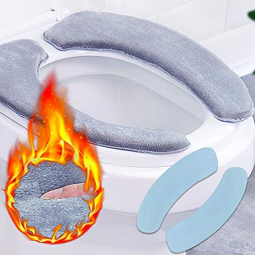 CHEPL Toilettensitzabdeckung 2 Paar WC-Sitzbezug Warme Universal WC-Sitz-Pad Waschbar Weich für Familie Hotel Badezimmer