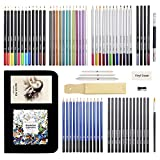 Jacriah Art Supplies Colored & Sketching Pencils Zip-Up Set,Painting Coloring Drawing Pencils Kit, Great for Children Adults and Artists, 74pcs with Easy Zipper Travel Case(11.5x8.4x1.8in).