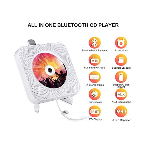 Portable CD Player with Bluetooth, Wall Mountable  Music Player Home Audio Boombox with Remote Control FM Radio Built-in HiFi Speakers LCD Display MP3 Headphone Jack AUX Input Output 4
