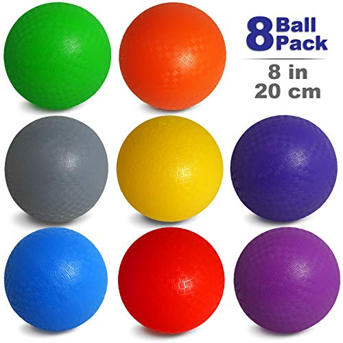 NDN LINE 8 Inch Playground Balls (Set of 8 deflated, for Schools and for Kids, Dodgeball, Kickball Pump Included)