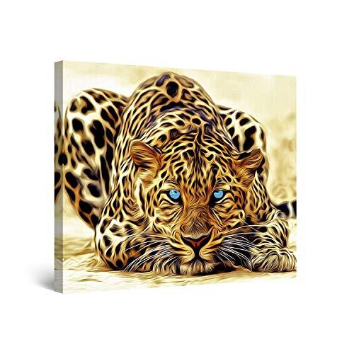 Startonight Bilder Leopard, Leinwandbilder Moderne Kunst, Tiere Wanddeko Kunstdrucke, Wandbilder 80 x 80 cm, Tag Nacht Bild