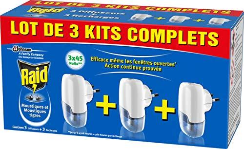 Raid Diffuseurs Électriques Liquide, Moustiques et Moustiques Tigres, 45 Nuits, Insecticide , 1 paquet de 3 diffuseurs + 3 recharges 3 x 27 ml