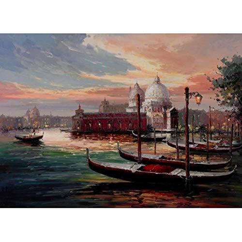 Lcgbw Modern Europa Venetië City of Water Reviews Seascape Posters afdrukken abstract olieverfschilderij op doek wandafbeelding voor de woonkamer 50x100cm Canvas + frame