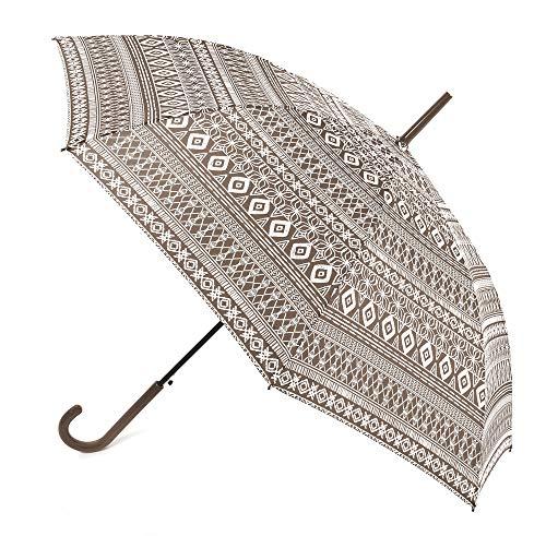 Paraguas Vogue. Paraguas Mujer Estampado Estilo étnico. Se confecciona en Seis Bonitos Colores. Paraguas Automático y antiviento. Mango Efecto esmaltado. (Marrón Oscuro)