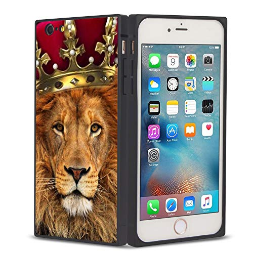 FAUNOW Funda cuadrada para teléfono iPhone 6/6S Plus Lion King Crown Anti-shock Flexible Premium Cover para iPhone 6/6S Plus