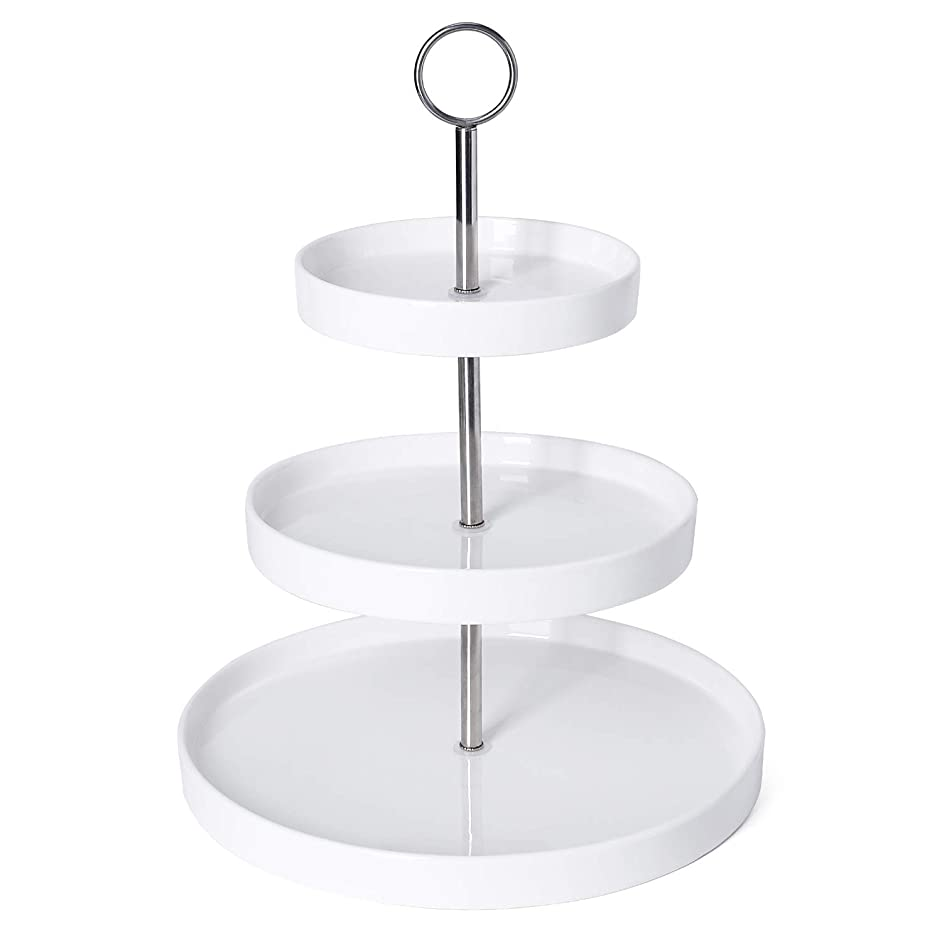 Sweese 3315 3-Tier Porcelain Cupcake Stand/Dessert Stand/Cake Stand - White Porcelain Round Plates for Tea Party Wedding Baby Shower Buffet Server