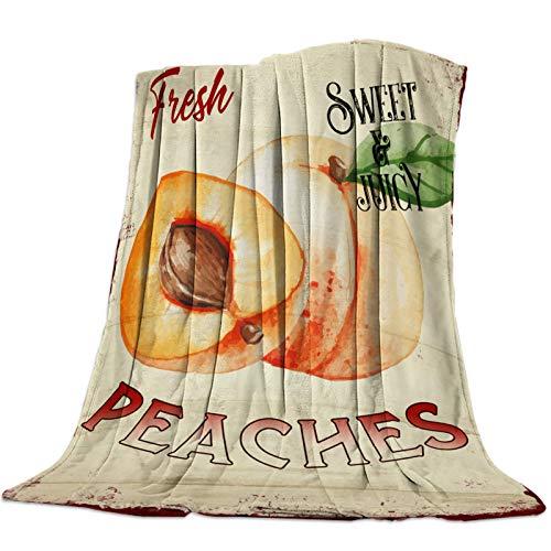 Mantas Para Manta Blanket Manta de microfibra de grano de madera vintage de melocotones dulces y jugosos Mantas 125X100CM