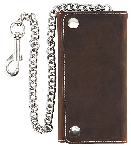 RFID Blocking Men's Tri-fold Vintage Long Style Cow Top Grain Leather with Steel Chain Wallet,Made In USA,Snap closure,Antique crazy horse brown,G-dc339