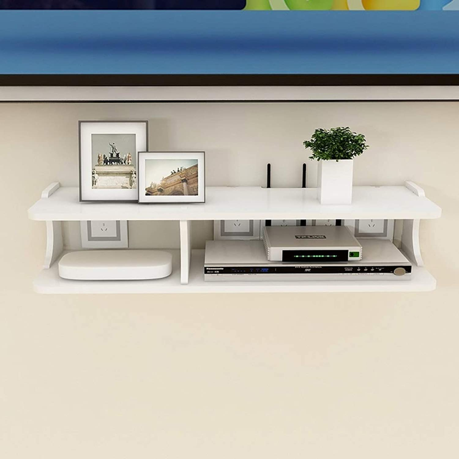 YAXIAO Wall Frame TV Cabinet TV Rack Set-top Box Shelf TV Console Storage Unit Storage Rack Cable Box White Floating Wall Shelf (Size   60×13.6×20cm)