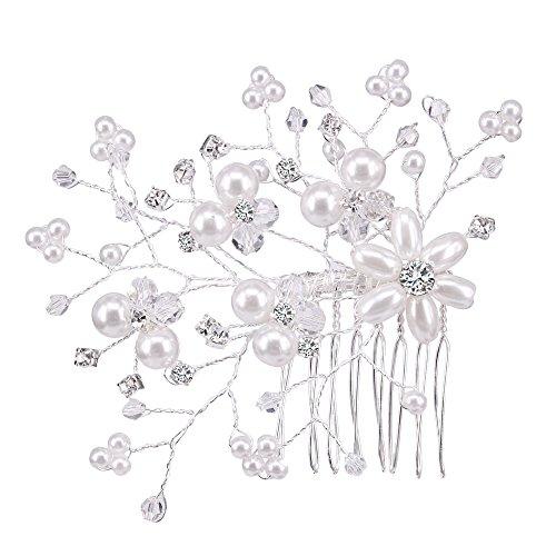 Inconnu BiBeary Femme élégant Mariage Cristal Perles simulées grand deux Fleur manual Fait main Peignes Bijoux de cheveux Ton argent