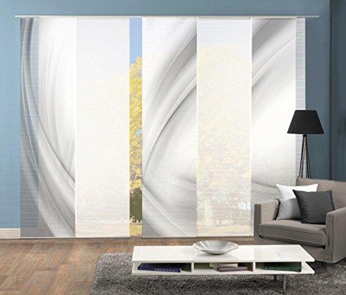 Vision S 95450   5er-Set Schiebegardinen UNO   halb-transparenter Stoff in Bambus-Optik   5X 260x60 cm   Farbe: (grau)