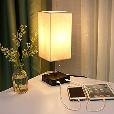 KINGSO USB Bedside Lamp Table Lamp with Outlet and 2 USB Ports 3 ON/Off Switch Settings for Bedroom, Living Room, Office (Bulb Not Included)