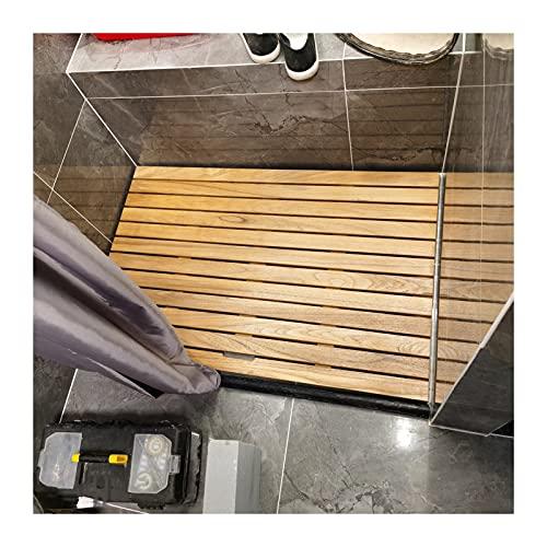 JIAJUAN Legno Naturale Doccia Bagno Stuoia, Antiscivolo Giuntura Drenare Pedale, Anti-Cracking Sauna Bagno Giardino Balcone Rilievo del Piede, Formato Personalizzato