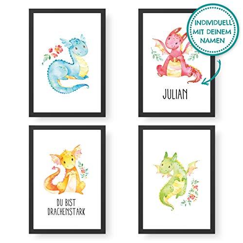 Papierdrachen 4 Premium Poster DIN A4 | Personalisierte Wandbilder für Kinderzimmer - Drachen - hochwertige individualisierbare Kunstdrucke | Dekoration | Wandbild mit Namen