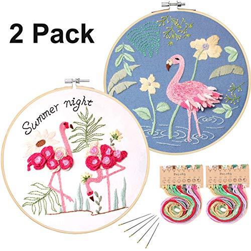 Konrisa Kit de Punto de Cruz con Patrón flamingo Kit de Bordado para Adultos de Inicio de Bordado para Principiantes con Aros de Bordado, tela, aguja, kit de Herramientas de Hilo de Color, juego de 2