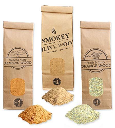 Smokey Olive Wood 3X 300 ml selección de serrines de Madera para Barbacoa y ahumar: Olivo, Almendro y Naranjo. Talla Nº1: 0-1 mm, ANV1-03-0.3L