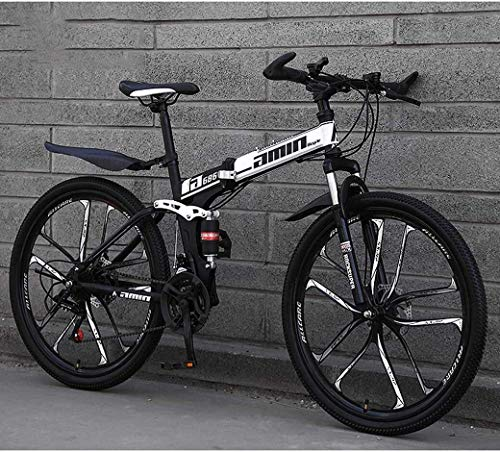 New DHINGM Mountain Bike Folding Bikes 26Inch 27-Speed Double Disc Brake Full Suspension Anti-Slip L...