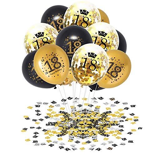 APERIL 18 Anni Palloncini Compleanno Oro Nero Palloncini di Coriandoli e 20g 18°Compleanno Coriandoli, Decorazioni per Feste per Adulti Uomo Donna Anniversario Matrimonio