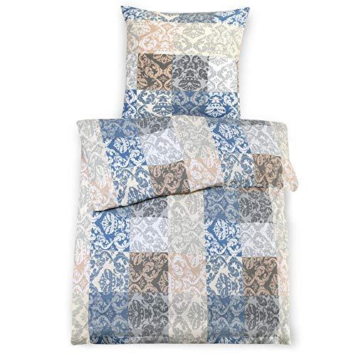 Beautissu 2tlg. Biber Bettwäsche Set 135x200 cm Gloria mit Kissenbezug 80x80 cm - Kissen- und Bettbezug mit Reißverschluss - 100% Baumwolle bügelfrei