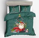 Set di biancheria da letto natalizia, con motivo stampato in 3D, per letto singolo, matrimoniale, Queen Size (220 x 240 cm)