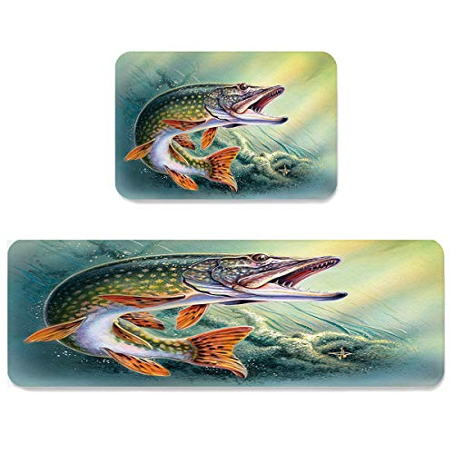 Futuregrace Doormats with Non-Slip Rubber Backing Absorbent Oil Proof Kitchen Rug, 3D Fish Roaring 2pcs Kitchen Mats Sets for Entrance Home Decoration, 23.6x35.4in+23.6x70.9in
