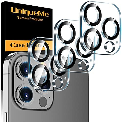 [3 Pack] UniqueMe Protector de Lente de cámara Compatible coniPhone 13 Pro/Pro Max Cristal Templado, [9H Dureza ] [Sin Burbujas] HD Vidrio Templado