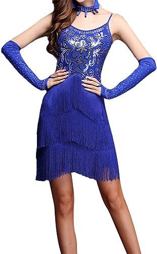 Liuxiaomiao Robe de Danse Femme Femmes Frange Glands Salle De Bal Samba Tango Robe De Danse Latine Costumes Costume Soirée à Thème Robe Swing (Couleur   Royal bleu, Taille   L)