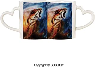 UHOO Coffee Mugs Set of 2 - Wild and Angry Tiger Portrait Fire Blue Flame Brave Mammal Jungle Forest King Fe Ceramic Coffee Mugs - Bride and Groom Mug Set Honeymoon Anniversary Gift | 11.6 oz