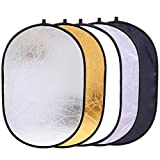 5-in-1 Foldable Backdrop 35' x 47' Reflector Photography Photo Studio Portable Collapsible Oval Large Light Reflectors/Diffuser Accessories Kit with Carrying Case for Outdoor Camera Vedio Lighting