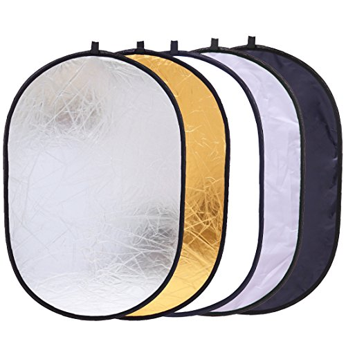 5in1 Oval Light Reflector 24 x 35 inch 60 x 90cm Portable Collapsible Photography Studio Photo Camera Lighting Reflectors/Diffuser Kit with Carrying Case
