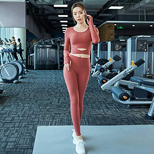 Nouveau Élégant Rouge Net À Manches Longues Yoga Vêtements Fitness Fitness Débutant Yoga Running Sports Ombilical Set Sexy Exposé Croix