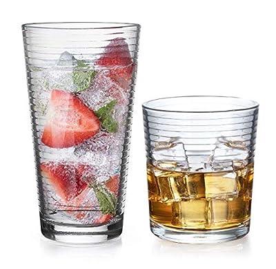Gift Essentials Glassware Set - Set of 8-Piece Tumbler and Rocks Glass Set - Includes 4 Cooler Glasses (17oz) and 4 Rocks Glasses (13oz), for Mixed Drinks, Water, Juice, beer, Wine, Excellent Gift