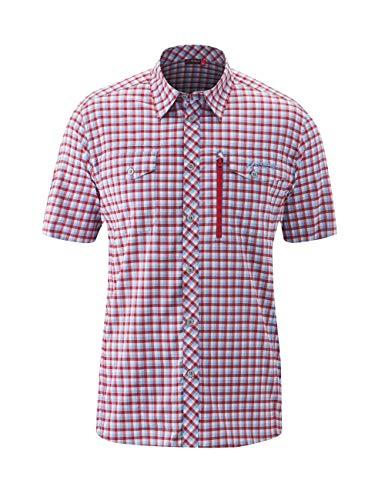 Maier Sports M Peyo S/S Kariert-Blau-Rot, Herren Hemd, Größe 56 - Farbe Blue - Red Check