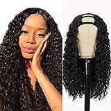 Pelo natural pelucas ondas mujer pelo natural rizado U Part Half human hair wigs for black woman humano peluca negra larga virgin hair Extensiones deep curly