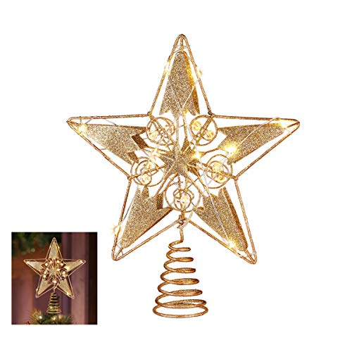 Christmas Tree Topper, 15 LED Lighted Star Tree Topper Gold Christmas Tree Star Decorations for Indoor Home Decor - 12 Inch