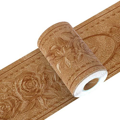 Yoillione トリムボーダー マスキングテープ 壁紙シール インテリアシール ゴールド はがせる 浮彫 凹凸 牡丹 リメイクシート キッチンシール 北欧 防水 ウォールステッカー 花 3d 大きい 立体 トイレ 洗面所 リビング 玄関 【金色 幅10